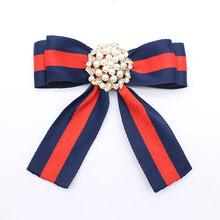 Baru Mutiara Imitasi Bunga Bros Pita Busur Kerah Pin Korsase Kemeja Dasi Dasi Pernikahan Broches Perhiasan Wanita Hadiah Pesta(China)