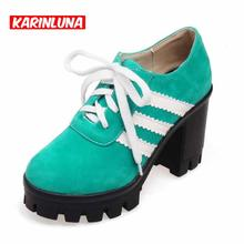 2016 Fashion Sweety Mixed Colors Women High Heels Black/Green/Red Platform Pumps Comfortable Big Size Lace Up Ladies Shoes(China (Mainland))
