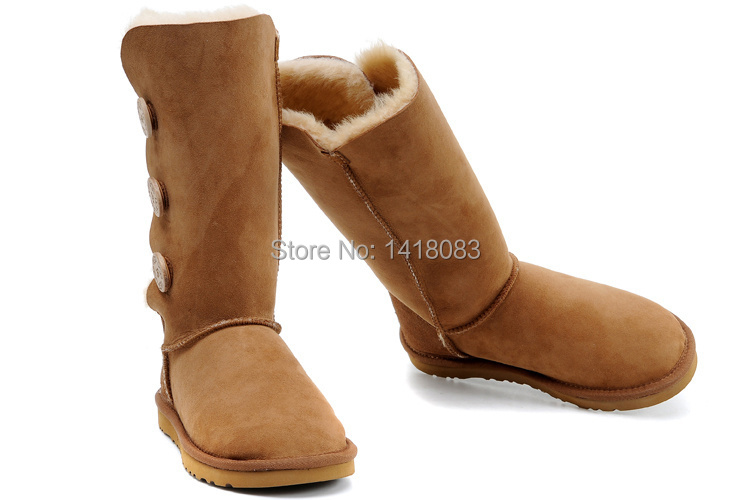 wholesale!Hot New Fashion women's three bailey button real leather snow boots Australia classic tall boots lady shoes With gift(China (Mainland))
