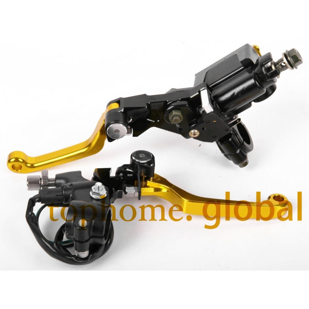 7/8 New CNC Brake Master Cylinder Pressure Switch Reservoir Levers Dirt Pit Bike Set For SUZUKI RMZ2502005-2006<br><br>Aliexpress