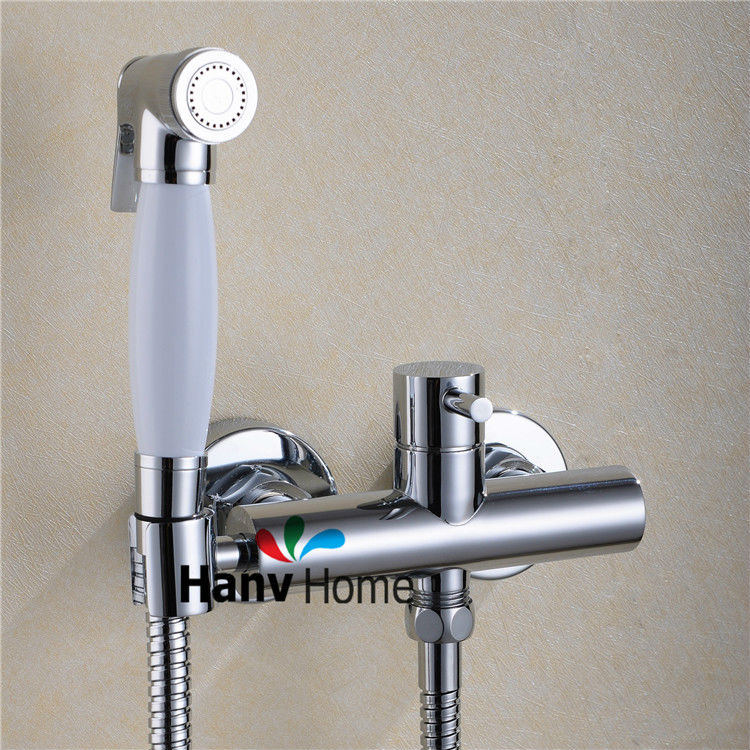 Гаджет  Toilet Bathroom Hand held Bidet Spray Shattaf  & Brass Hot and Cold Water Valve & Holder Hose sprayer Jet Tap Douche kit None Строительство и Недвижимость