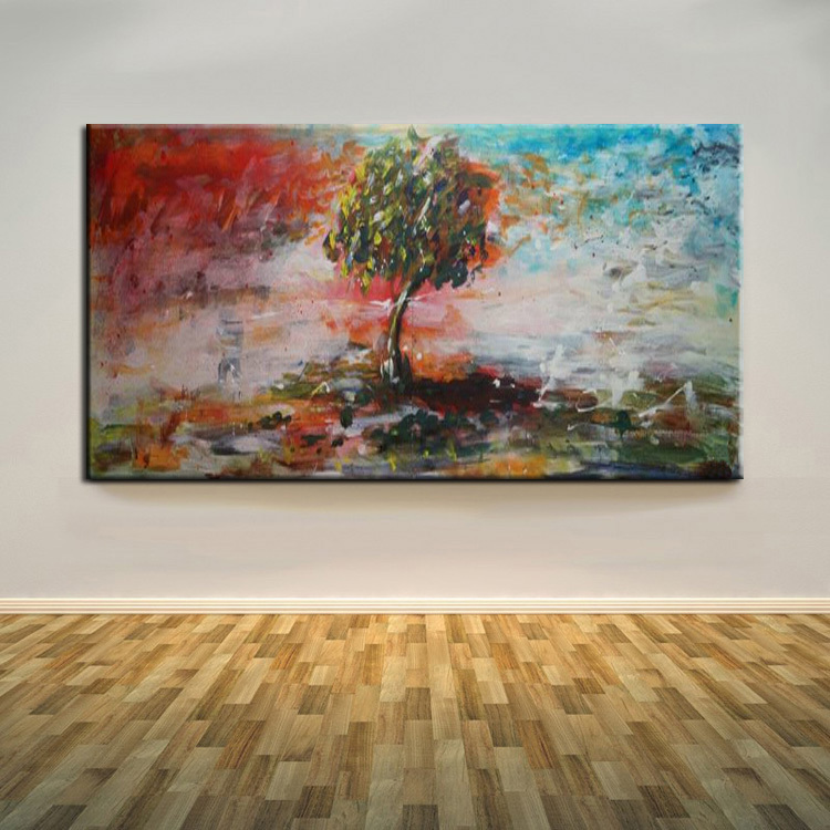 Old Skilled Painter Handmade Beautiful Landscape Abstract Blue And Red Tree Oil Painting On Canvas For Living Room Decoration(China (Mainland))