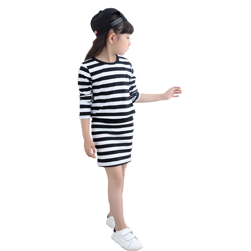 Girl Dress Spring 2017 Long Sleeve Black & White Stripes Girls Cotton Dress Teenage Dress vestidos Infantis Clothes(China (Mainland))