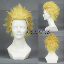 Free Shipping FAIRY TAIL Laxus Dreyar Luxus Wig Pelucas Cosplay Party Wigs Fashion 35CM Light Blond Short Hair + Free Wig Cap(China (Mainland))