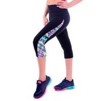 2015 Brand New Capris Leggings New Arrival High Waisted Patch Work Workout Fitness Legging Pant Exercise