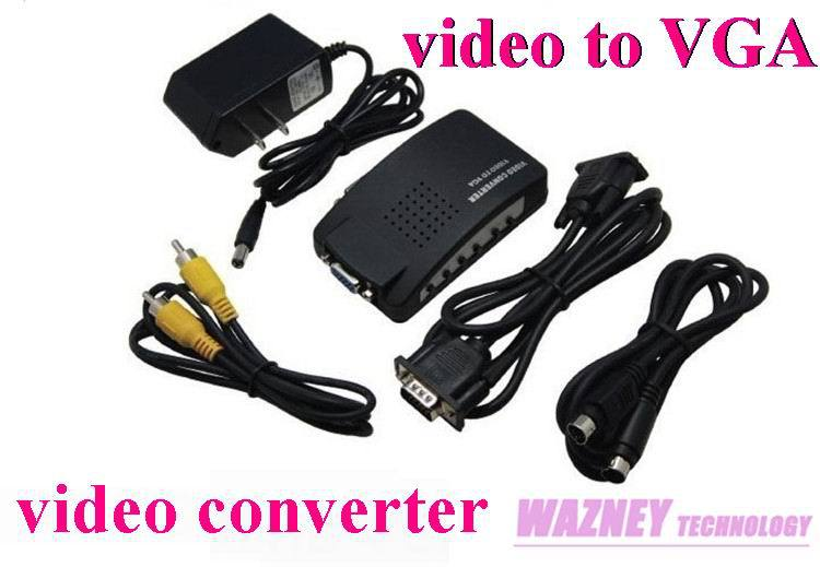 10PCS/LOT*video converter video to VGA Adapter AV S-Video RCA Composite Video to PC Laptop VGA TV Converter adapter box(TV-PC)(China (Mainland))