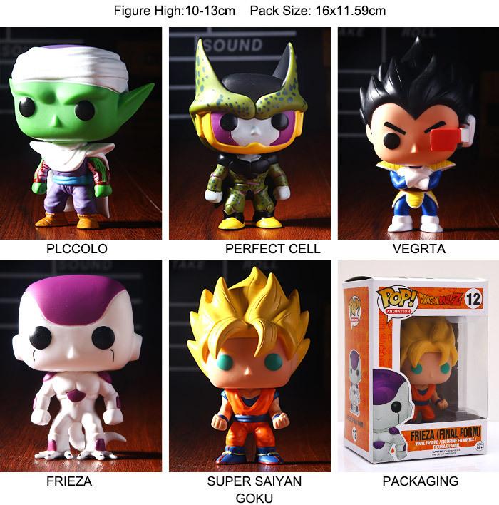 2015new Dragon Ball Z Funko POP Super Saiyan Son goku Vegeta Cell Piccolo Frieza PVC Action Figure Model DragonBall Toy Gift dbz(China (Mainland))