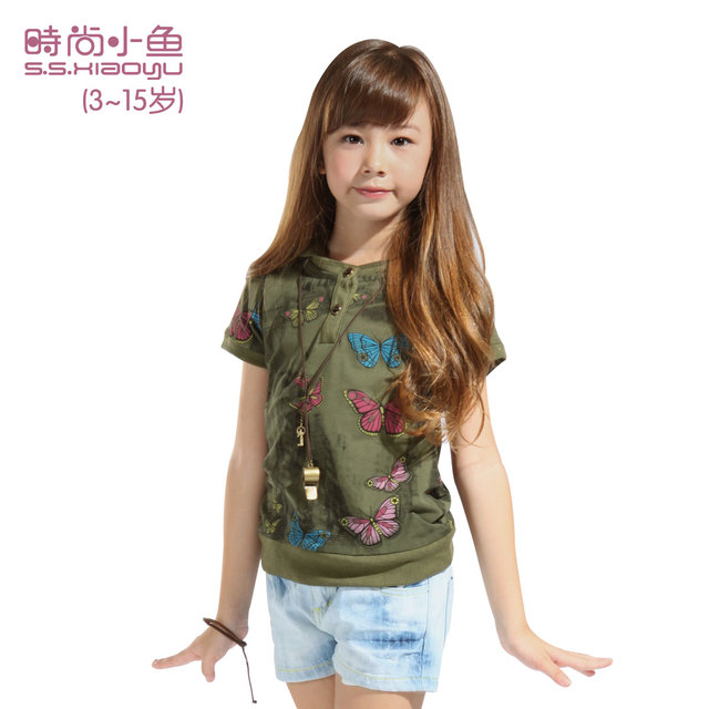 Dollarfish fashion female child children's clothing child short-sleeve T-shirt female child casual 100% cotton butterfly sk12