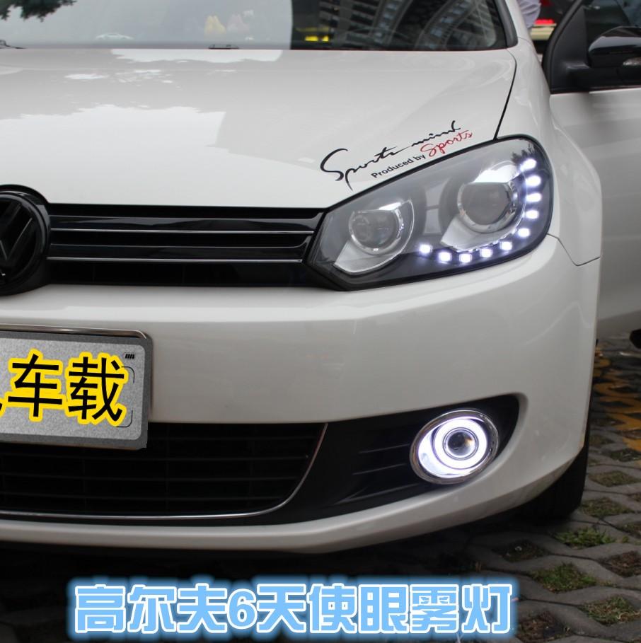 eOsuns Innovative COB angel eye led daytime running light DRL + halogen Fog lamp+ Projector Lens volkswagen VW golf 6 MK6