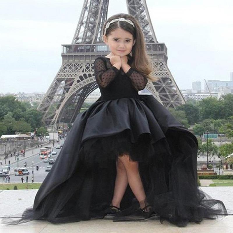 Черный детские платья развертки поезд высокий низкий маленькие девочки пром платье горячая распродажа дешевые кружева дети детей платье полный рукав F602