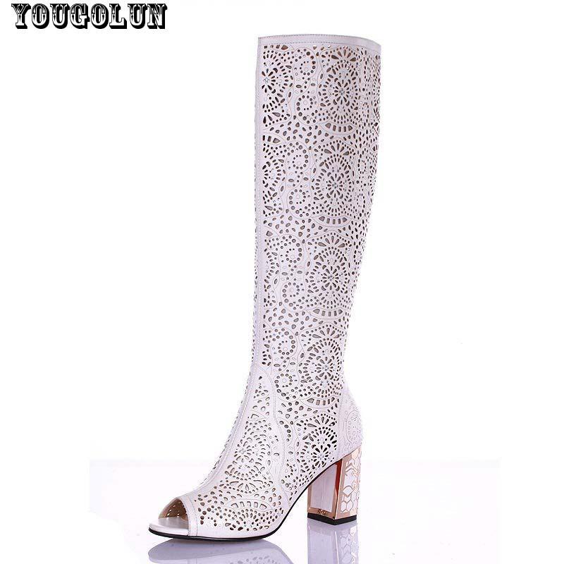 Women sandals knee high women boots sexy fashion sandal heels(7cm) Ladies Blue White Black gladiator boots shoes open toe shoe