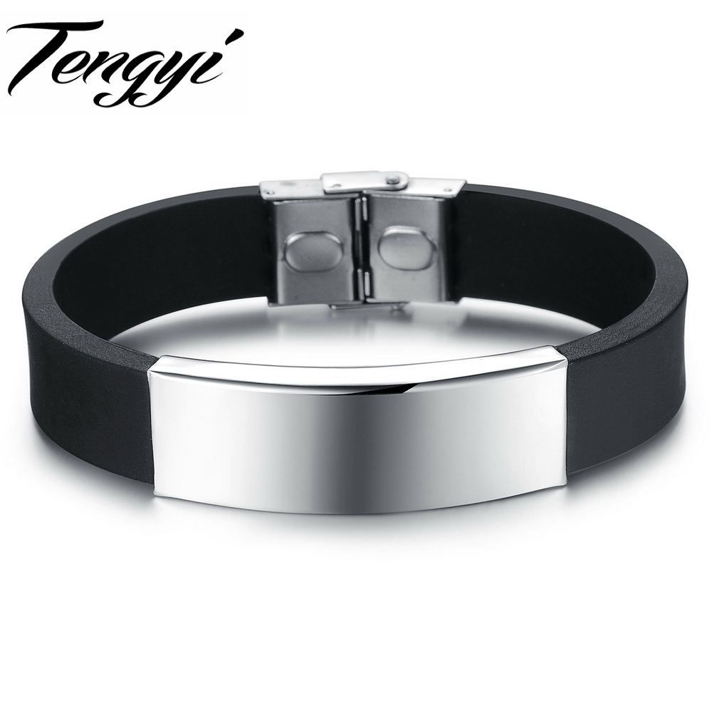 Punk silver Stainless Steel Black Genuine Silicone homens Bracelet male Bangles 14mm width adjustable 867 - Fashion Tengyi Jewelry store