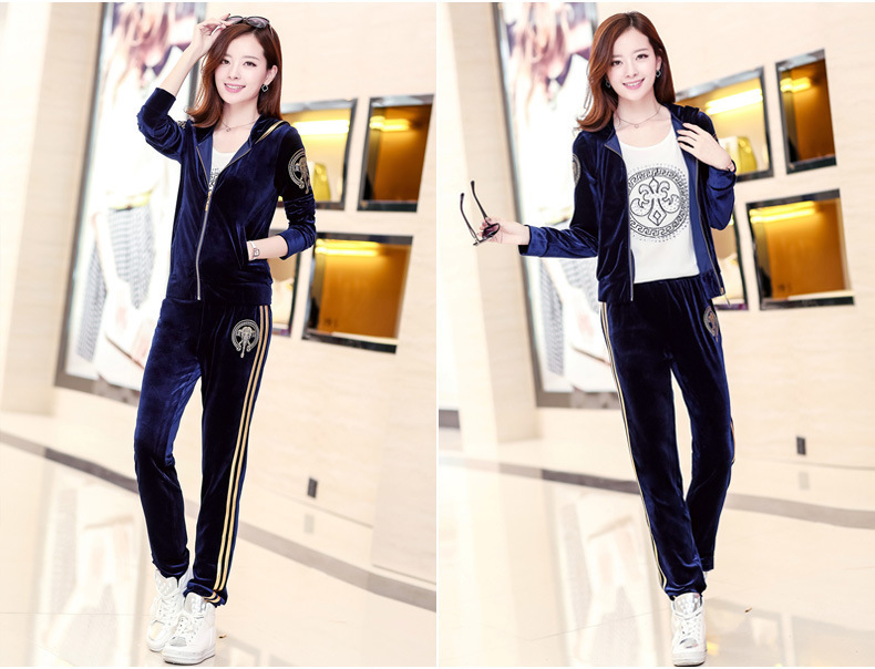 NEW plus size Women Autumn Korean version of casual sweater Slim velvet sports suit