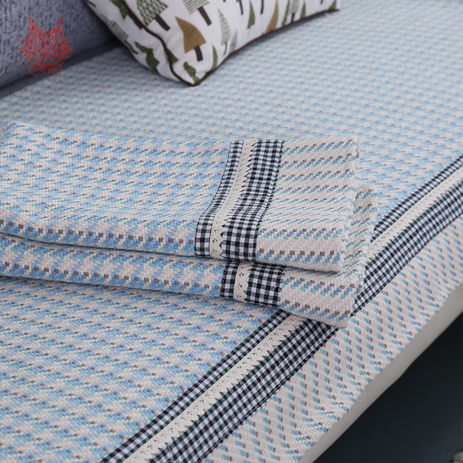 europe style blue houndstooth yarn dyed sofa cover cotton plaid slipcovers canape lace decor. Black Bedroom Furniture Sets. Home Design Ideas