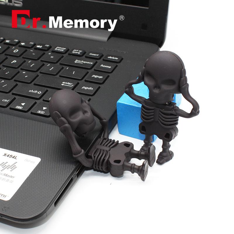 Dr.memory USB Flash Drive Skeleton Pen Drive 16g/8g/4g skull model Memory USB Stick 32gb pendrive cute usb2.0 u disk 2016 new(China (Mainland))
