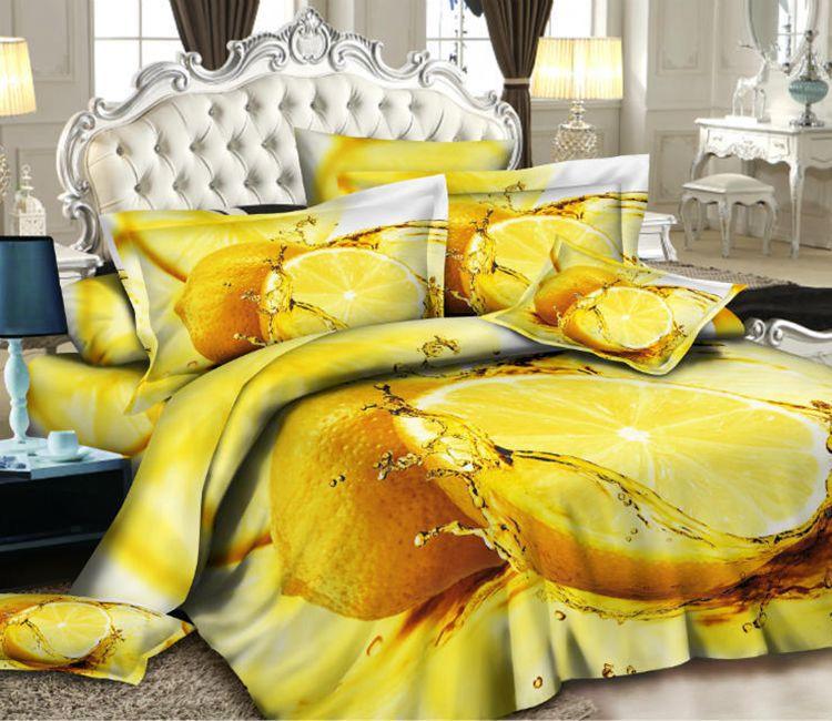 3D Grapefruit orange designer bedding comforter set for queen size bedspread duvet cover bed in a bag sheet bedroom linen home(China (Mainland))