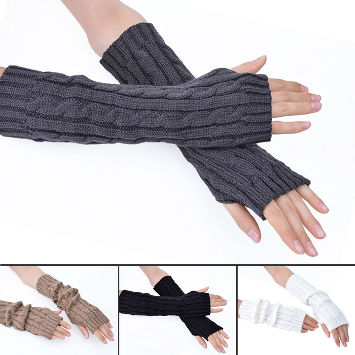 2015 wool arm sleeve Super long pattern knitted gloves ...