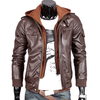 Leather clothing outerwear motorcycle leather clothing Men p013-f65 f75 plus cotton