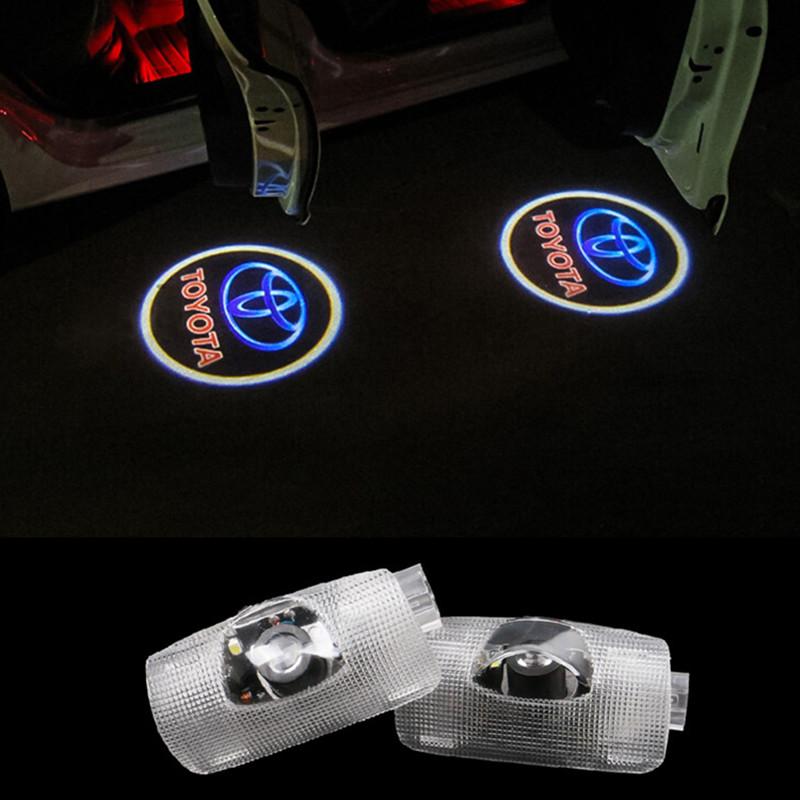 LED Door Warning Light With Toyota Logo Projector For TOYOTA Avensis Prado Reiz Camry Corolla Sienna prius HighLander 2015(China (Mainland))