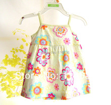 NEW Fashion baby girl RETRO girl's flowers baby dress summer baby shower gift girls Old Fashion 60's(China (Mainland))
