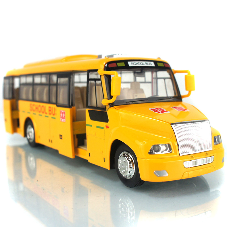 Large American school bus can open alloy light back car model school bus for children toys(China (Mainland))