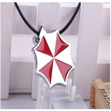 Hot Movie The Resident Evil Umbrella Red Protective Umbrella Logo Stainless Steel Leather Chain Pendant Necklace