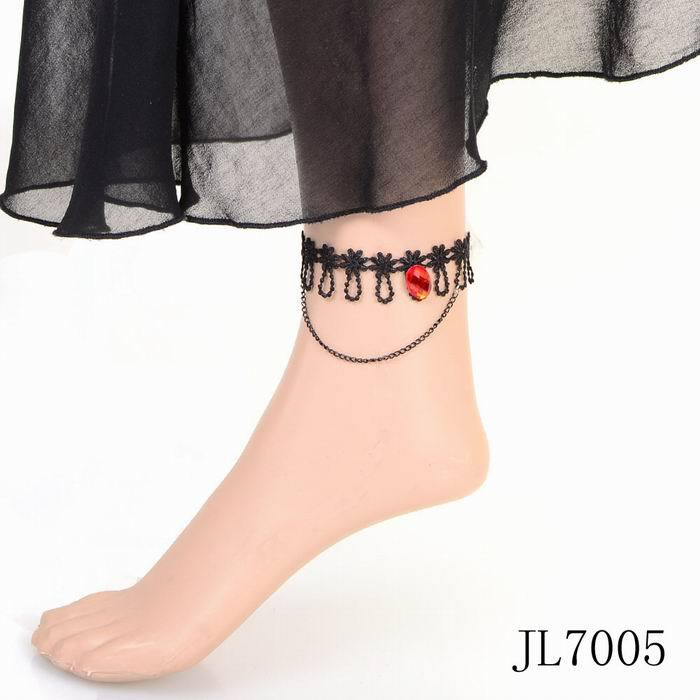 JL7005 fashion new USA Europe black lace chain cheap price red charm anklet for ladies jewelry(China (Mainland))
