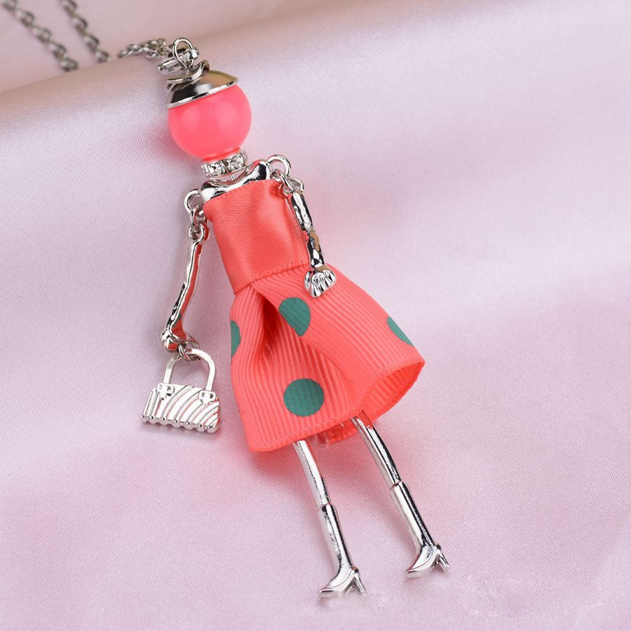 5 Colors Fashion Doll Pendant Necklace Dress Doll Neclaces Cute Women Girl Long Sweater chain Fashion Jewelry Maxi collares Gift