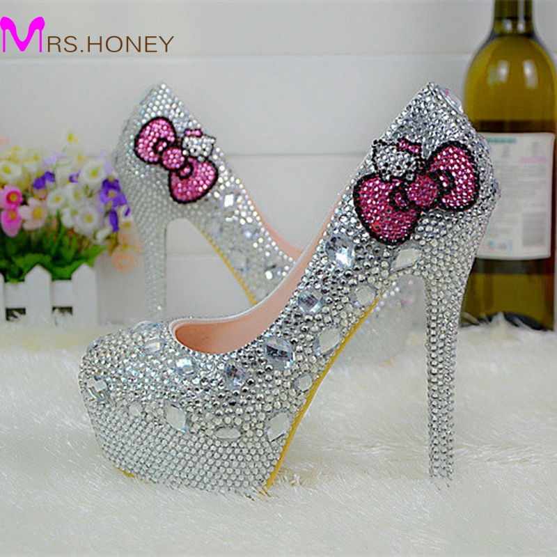 Hello Kitty Silver Rhinestone Bridal Wedding Shoes Graudation Party Prom High Heel Shoes Formal Dress Pumps Plus Size(China (Mainland))