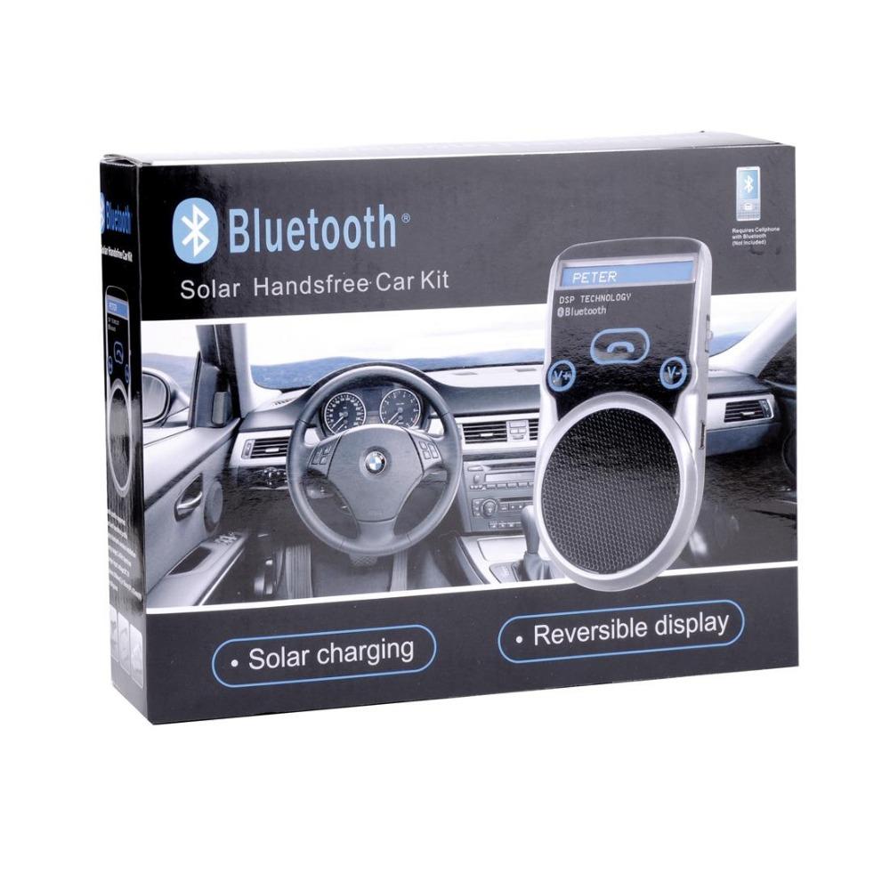2014 Best New Bluetooth Solar Handsfree Car Kit LCD Speaker for mobile phones reversible display black<br><br>Aliexpress