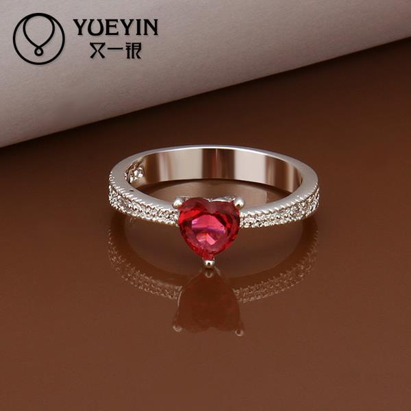 R252 silver Plated classic New Design Heart Shaped ruby Ring For women wholesale cheap price