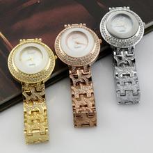 A la moda Quartz de señora reloj de pulsera de oro rosa del reloj de la mujer circular uhr oro / plata acero inoxidable correa de reloj buen regalo