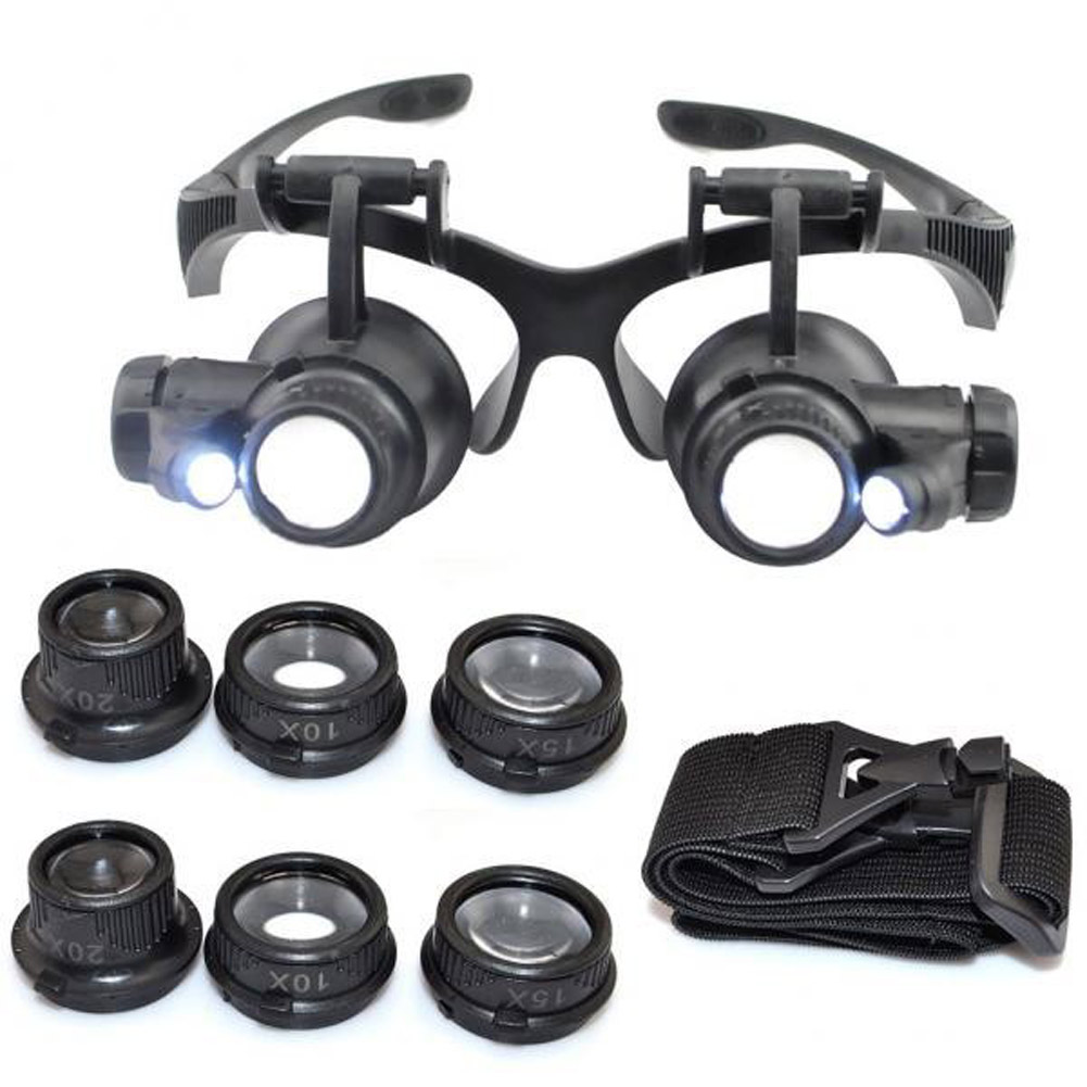 New Arrival Double Eye Magnifying Glasses Watch Repair Magnifier Jewelry With 10x 15x 20x 25x 8 Lens 2 LED Lights Tools Set