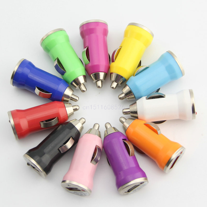 Brand new colorful micro usb car charger adapter output 5v universal mini usb auto converter for smartphone mp3 tablet ch04(China (Mainland))