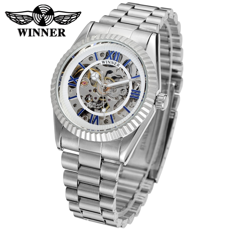 WINNER Men Luxury Brand Roman Number Stainless Steel Skeleton Watch Automatic Mechanical Wristwatches Gift Box Relogio Releges(China (Mainland))