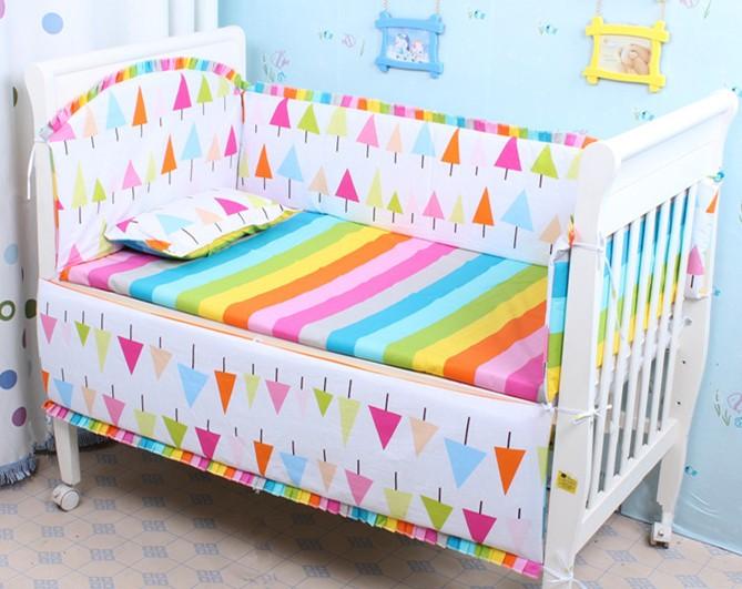 Здесь можно купить  Promotion! 6PCS Rainbow Baby Bedding Set Baby cradle crib cot bedding set cunas crib Sheet ,include(bumpers+sheet+pillow cover)  Детские товары