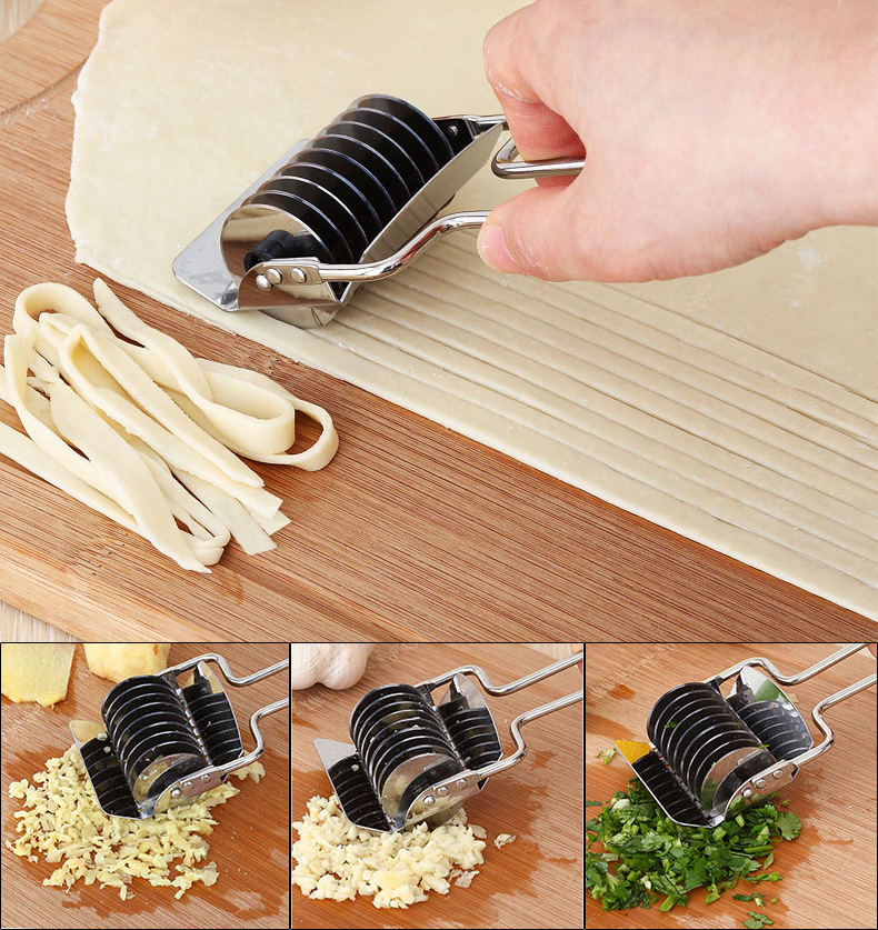New Portable Kitchen High Grade Stainless Steel Noodle Lattice Roller Docker Dough Cutter Pasta Spaghetti Cooking Maker #87060(China (Mainland))