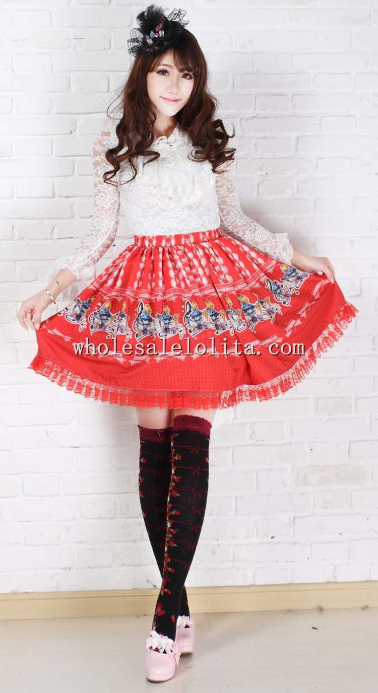 Fashion Beautiful Short Skirt Sweet Red Pleated Alice Concert Print SK Lolita Skirt