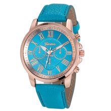 Roman 5 Color Fashion Casual Vogue Women Geneva Roman Numerals Faux Leather Analog Quartz Wrist Watch
