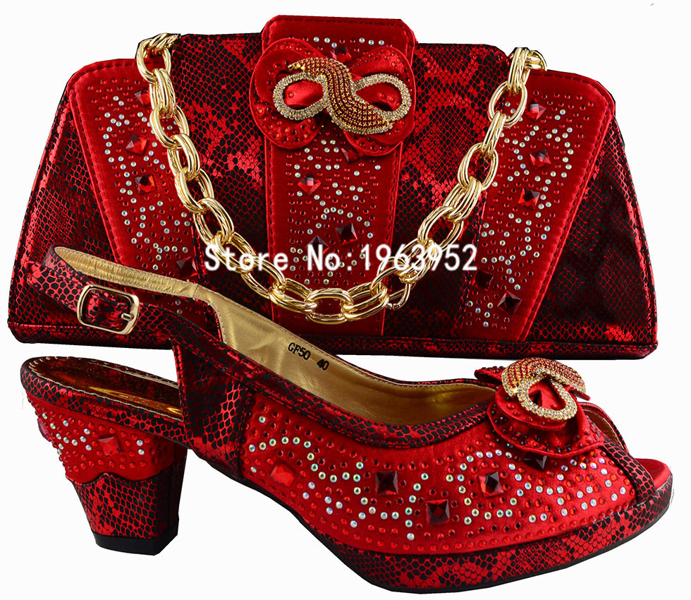 Free shipping with New Design Italian Shoes With Matching Bags Red Color African Women Shoes and Bags Set for GF50 Size 38-42.<br><br>Aliexpress
