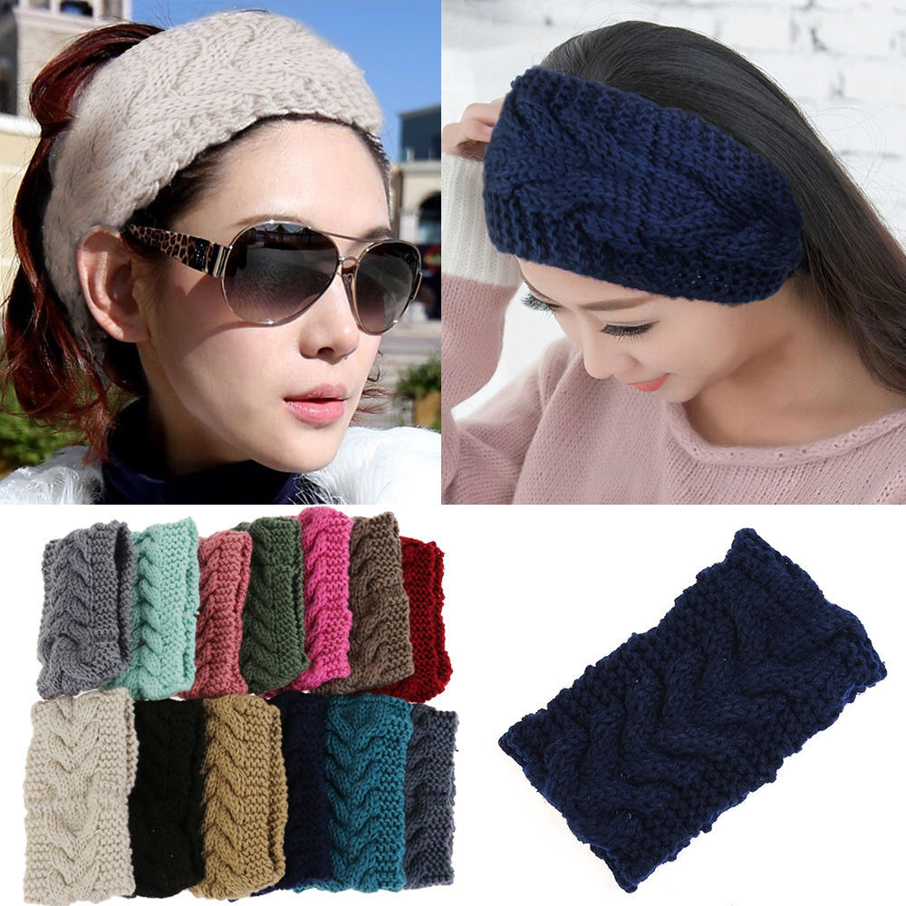 Beauty Fashion 13 Colors Flower Crochet Knit Knitted Headwrap Headband Ear Warmer Hair Muffs Band Winter(China (Mainland))
