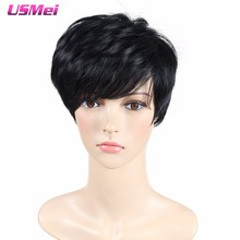 Modern Lady's wigs Black Short Straight Synthetic Wigs with Heat Resistant fiber Wig that Look real American African Women Hair(China (Mainland))