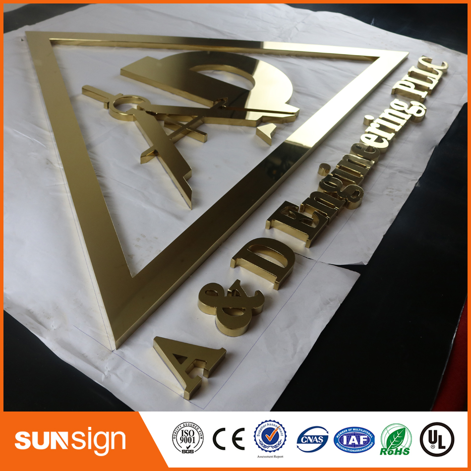 Indoormirror polished gold color stainless steel channel letter signage(China (Mainland))