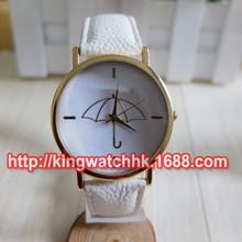 DHL free,100pcs/lot, Ladies ' Geneva Faux Leather Band Elegant Umbrella Casual Quartz Analog Wrist boyfriend Watch(China (Mainland))