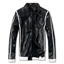 2015 motorcycle casual men jacket leather men winter thickening pu coat outwear 2 colors M L XL XXL(China (Mainland))