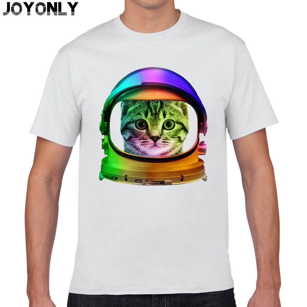 Joy Only Men's White Color 100% Cotton T Shirt Space Galaxy Animal Astronauts Cat Print 3D T-Shirt Men Casual Clothing Tops TA43(China (Mainland))