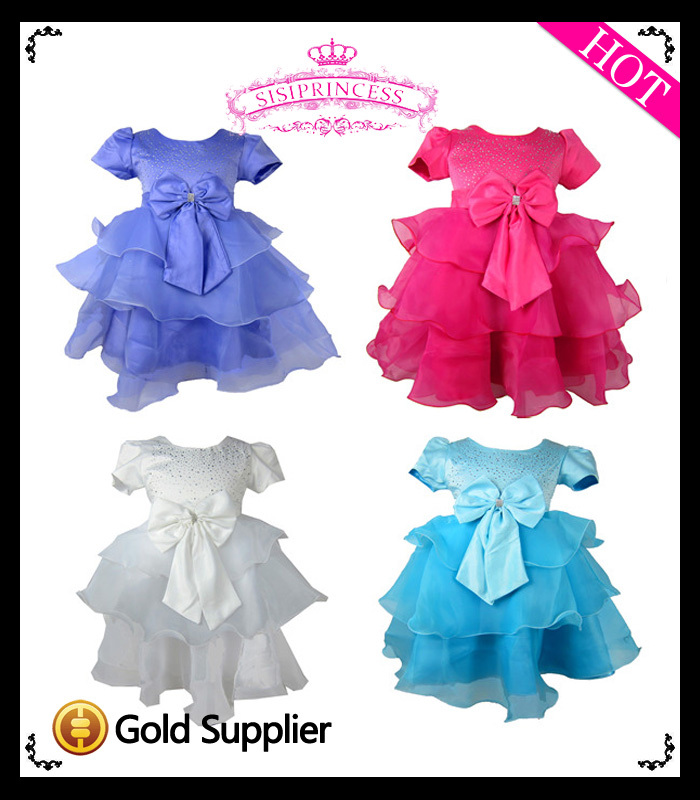 2013 New Free Shipping three ruffle with big bow children girl princess dress , formal ball gowns for children<br><br>Aliexpress