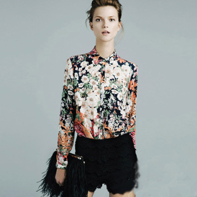 Lady Sexy Flower Print Long Sleeve Blouse Button Shirt Top W4155