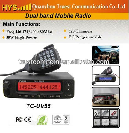 uv55 mobile two-way radio, dual band mobile base radio, 45w dual band mobile radios(China (Mainland))