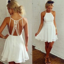 Summer ladies fashion sexy unbacked contracted sleeveless off shoulder hollow out cool chiffon dress 1838